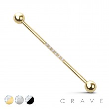 6 CZ STONES CENTER 316L INDUSTRIAL BARBELL