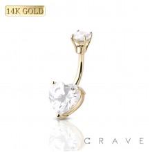 14 KARAT GOLD PRONG SET HEART CUBIC ZIRCONIA NAVEL RING