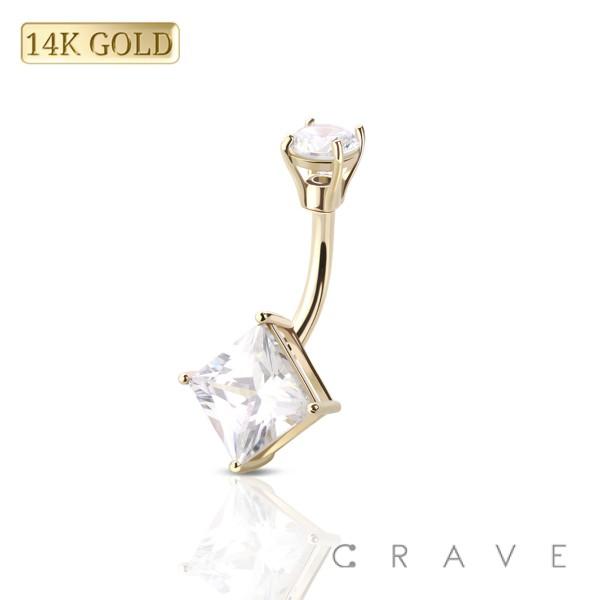 14 KARAT GOLD PRONG SET SQUARE CUBIC ZIRCONIA NAVEL RING