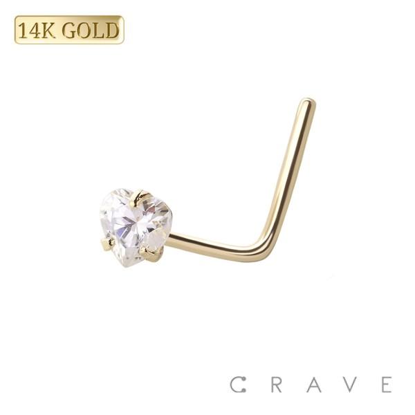 "14 KARAT GOLD Nose ""L""Bend with Heart shape Prong Set"