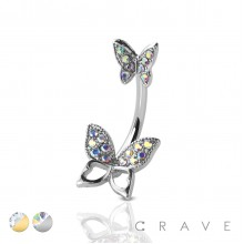 GOLD PLATED GEM PAVED DOUBLE BUTTERFLY 316L SURGICAL STEEL NAVEL RING