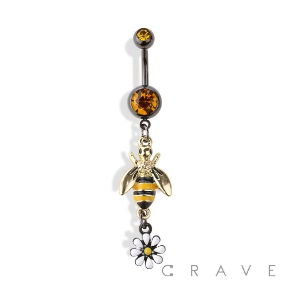 BUMBLEBEE AND FLOWER DANGLE 316L SURGICAL STEEL NAVEL RING