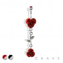 ROSE WITH VINE LEAF DANGLE 316L SURGICAL STEEL NAVEL RING (FLOWER)