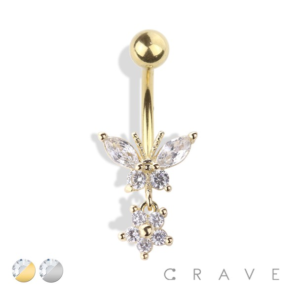 BUTTERFLY AND FLOWER DANGLE 316L SURGICAL STEEL NAVEL RING