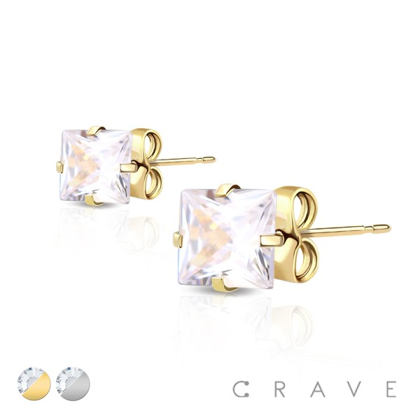 PAIR OF HYPOALLERGENIC 316L SURGICAL STEEL SQUARE CZ STUD EARRINGS