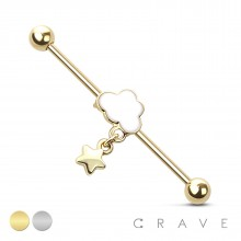 CLOUD WITH STAR DANGLE 316L SURGICAL STEEL INDUSTRIAL BARBELL