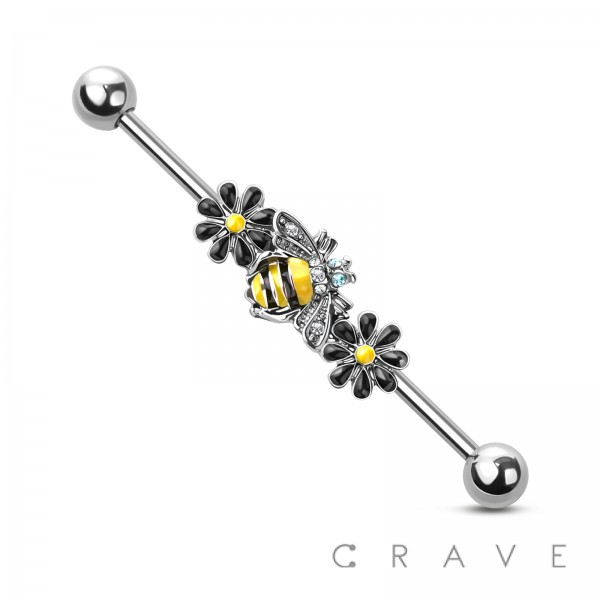 316L SURGICAL STEEL BEE BLOSSOM INDUSTRIAL BARBELL