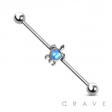 316L SURGICAL STEEL OPAL TURTLE INDUSTRIAL BARBELL (ANIMAL)