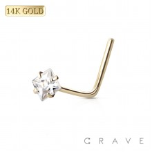 """14 KARAT GOLD Nose """"L""""Bend with Square shape Prong Set"""