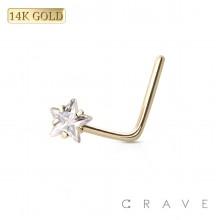 """14 KARAT GOLD Nose """"L""""Bend with Star shape Prong Set"""