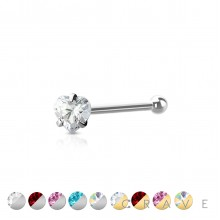 316L SURGICAL STEEL NOSE BONE STUD WITH HEART SHAPE PRONG SET