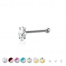 316L SURGICAL STEEL NOSE BONE STUD WITH MARQUISE SHAPE PRONG SET