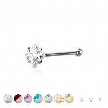 316L SURGICAL STEEL NOSE BONE STUD WITH SQUARE SHAPE PRONG SET
