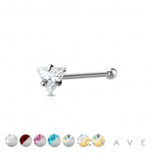 316L SURGICAL STEEL NOSE BONE STUD WITH TRIANGLE SHAPE PRONG SET