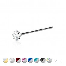 316L SURGICAL STEEL NOSE FISHTAIL WITH SQUARE SHAPE PRONG SET