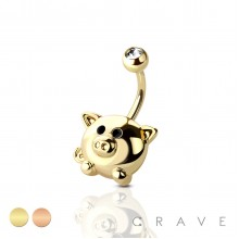 CUTE PIG 316L SURGICAL STEEL NAVEL RING (ANIMAL)