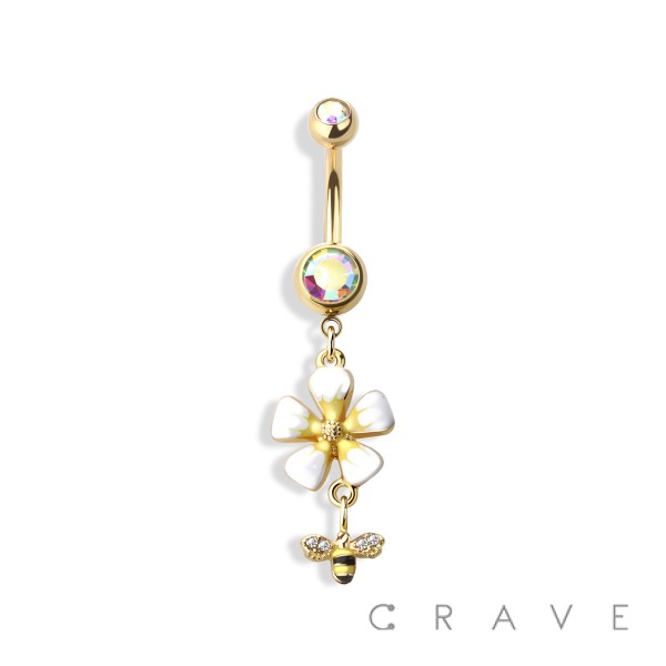 WHITE FLOWER WITH BEE DANGLE 316L SURGICAL STEEL NAVEL RING