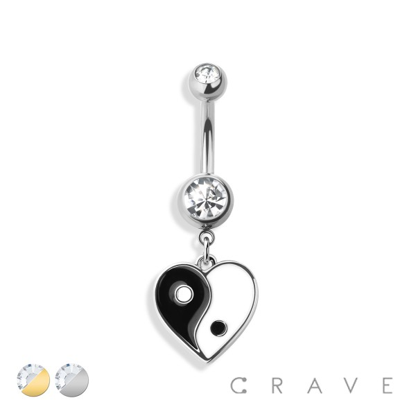 YING YANG HEART DANGLE 316L SURGICAL STEEL NAVEL RING