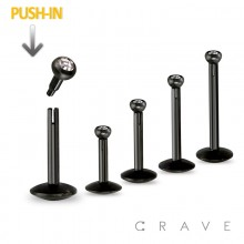 BLACK PVD PLATED OVER 316L SURGICAL STEEL PUSH-IN LABRETS WITH PRESS FIT FLAT GEM