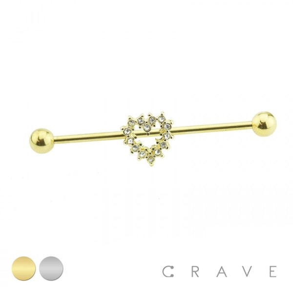 GOLD PLATED CZ HEART 316L SURGICAL STEEL INDUSTRIAL BARBELL