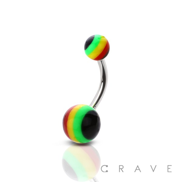 316L SURGICAL STEEL NAVEL RING WITH RASTA ACRYLIC BALLS