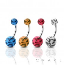 LEOPARD PRINTED ACRYLIC BALL 316L SURGICAL STEEL BELLY NAVEL RING