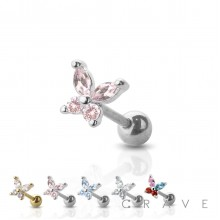 316L SURGICAL STAINLESS STEEL CARTILAGE BARBELL WITH GEM BUTTERFLY