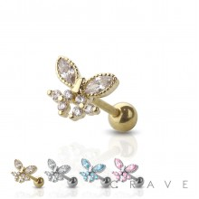 GEM PAVED BUTTERFLY 316L SURGICAL STEEL CARTILAGE BARBELL