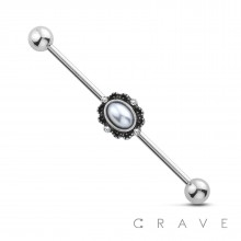 ANTIQUE PEARL 316L INDUSTRIAL BARBELL