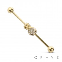 PINEAPPLE 316L SURGICAL STEEL INDUSTRIAL BARBELL (SUMMER)(FRUIT)