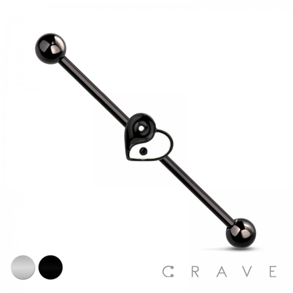 YING YANG HEART 316L INDUSTRIAL BARBELL