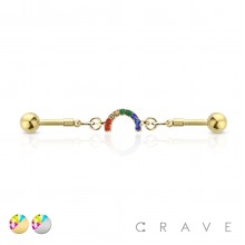 MULTICOLORED GEM CURVED LINKED 316L SURGICAL STEEL INDUSTRIAL BARBELL
