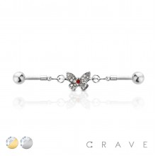 CZ BUTTERFLY LINKED 316L SURGICAL STEEL INDUSTRIAL BARBELL