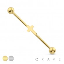 PLAIN CROSS 316L SURGICAL STEEL INDUSTRIAL BARBELL