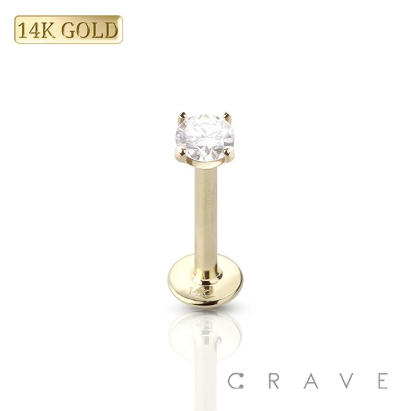 14 KARAT GOLD INTERNALLY THREADED CZ PRONG SET LABRET/MONROE