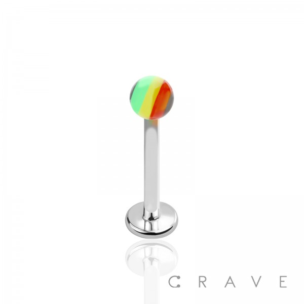 316L SURGICAL STAINLESS STEEL LABRET/MONROES WITH RASTA ACRYLIC BALLS