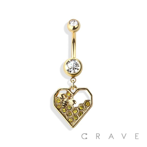 HONEY COMB AND BEE DANGLE 316L SURGICAL STEEL NAVEL RING
