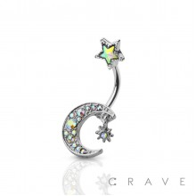 CZ STAR HANGIN' MOON WITH STAR TOP 316L SURGICAL STEEL NAVEL RING