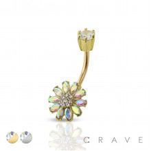 CZ FLOWER WITH CROW TOP 316L SURGICAL STEEL NAVEL RING