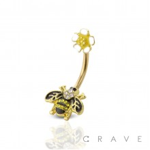 BEE SHAPE WITH SUNFLOWER TOP 316L SURGICAL STEEL NAVEL RING