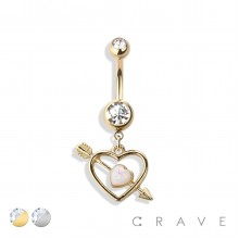 CUPID'S ARROW DOUBLE HEART DANGLE 316L SURGICAL STEEL NAVEL RING