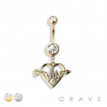 CUPID'S TWISTED ARROW HEART DANGLE 316L SURGICAL STEEL NAVEL RING