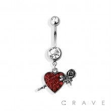 RED ENAMEL HEART WITH ROSE DANGLE 316L SURGICAL STEEL NAVEL RING (FLOWER)