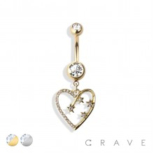 HEART WITH SHOOTING STARS DANGLE 316L SURGICAL STEEL NAVEL RING