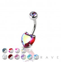 DOUBLE GEM PRONG SET HEART CZ 316L SURGICAL STEEL NAVEL RING
