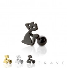 CAT SHAPED TOP 316L SURGICAL STEEL CARTILAGE/TRAGUS BAR (ANIMAL)