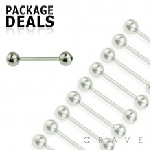 100PCS OF 14GA 316L SURGICAL STEEL TONGUE BARBELL PACKAGE 5MM BALL
