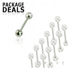 100PCS OF 316L SURGICAL STEEL SINGLE GEM TONGUE BARBELL PACKAGE 5MM