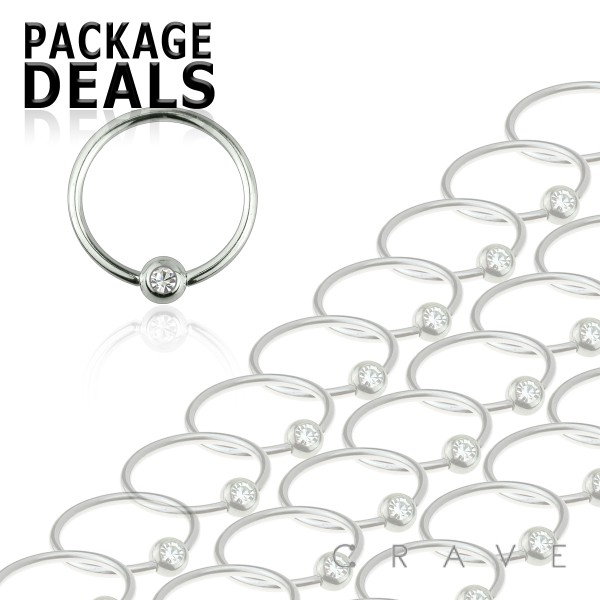 100pcs of 16GA 316L Surgical Steel Single Gem Captive Bead Ring Package