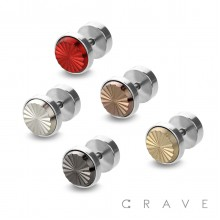316L SURGICAL STEEL CENTER COLOR GROOVE CUTS FAKE PLUG